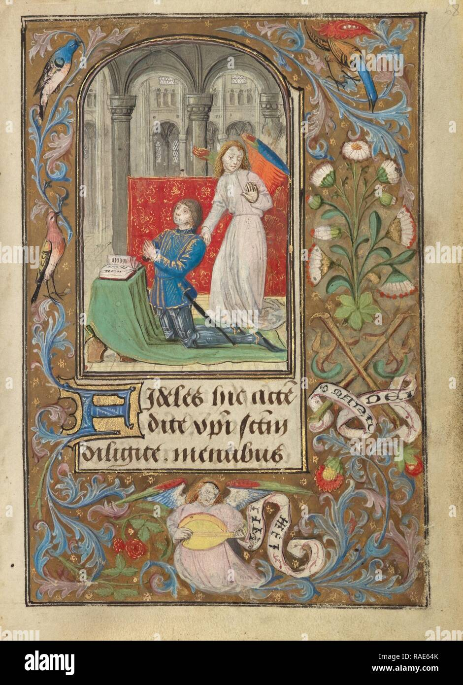 Charles the Bold Presented by an Angel, Lieven van Lathem (Flemish, about 1430 - 1493), Antwerp (illuminated reimagined Stock Photo