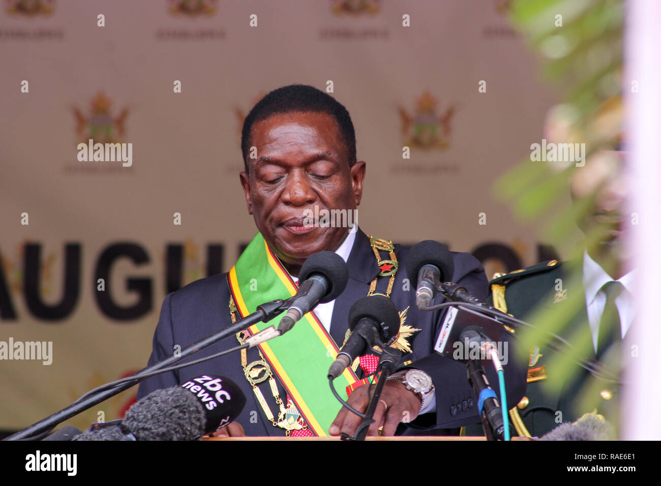 His Excellency the President of the Republic of Zimbabwe - Emmerson Dambudzo Mnangagwa - Stock Image