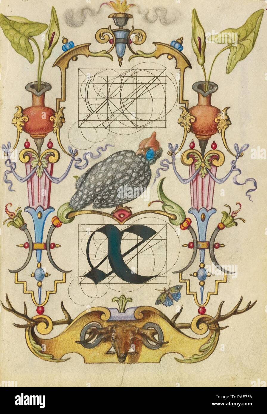 Guide for Constructing the Ligature ae, Joris Hoefnagel (Flemish , Hungarian, 1542 - 1600), Vienna, Austria, about reimagined - Stock Image