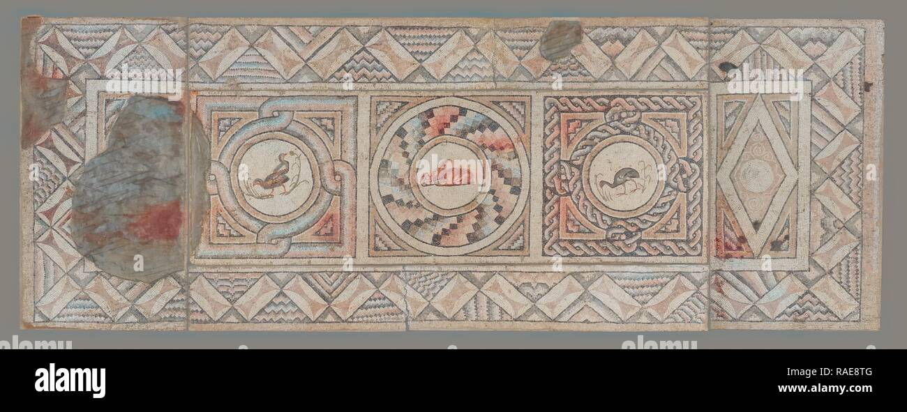 Mosaic Floor with Animals (7), Antioch, Syria, Asia, about 400 A.D, Stone tesserae, 257.2 × 682.3 × 5.7 cm (101 1,4 reimagined Stock Photo