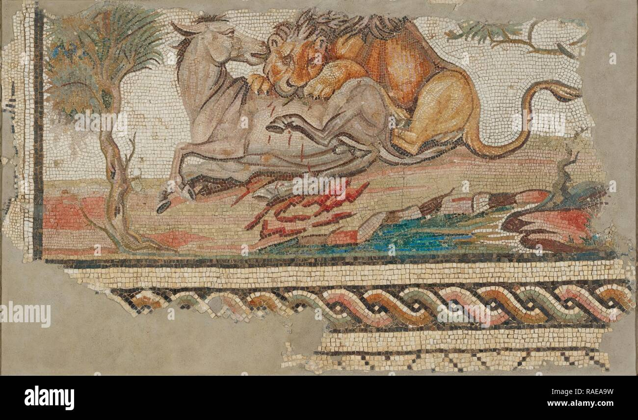 Floor Mosaic with a Lion Attacking an Onager, Tunisia, A.D. 150–200, Stone and glass tesserae, 98.4 × 160 × 7.6 cm ( reimagined - Stock Image