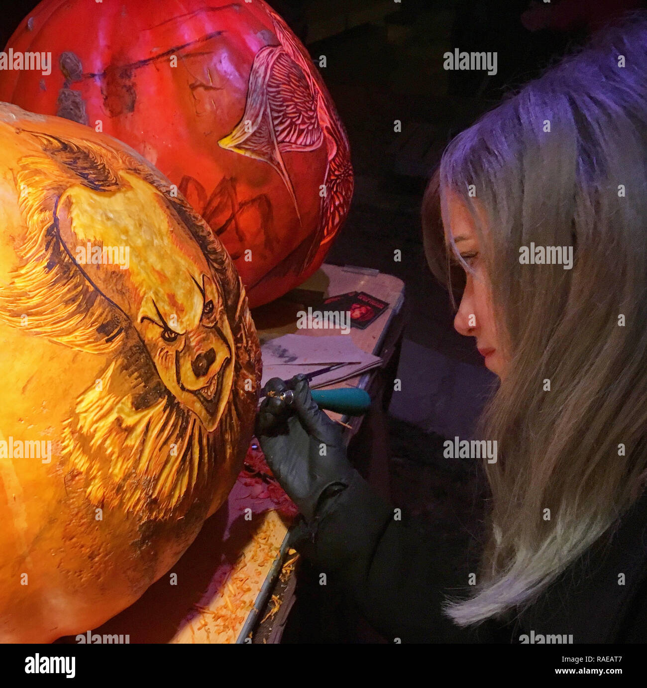 NEW YORK, USA: Rachael at work carving Pennywise. THESE SPOOKTACULAR pumpkin carvings featuring intricate designs that took up to SIXTEEN-HOURS to per Stock Photo
