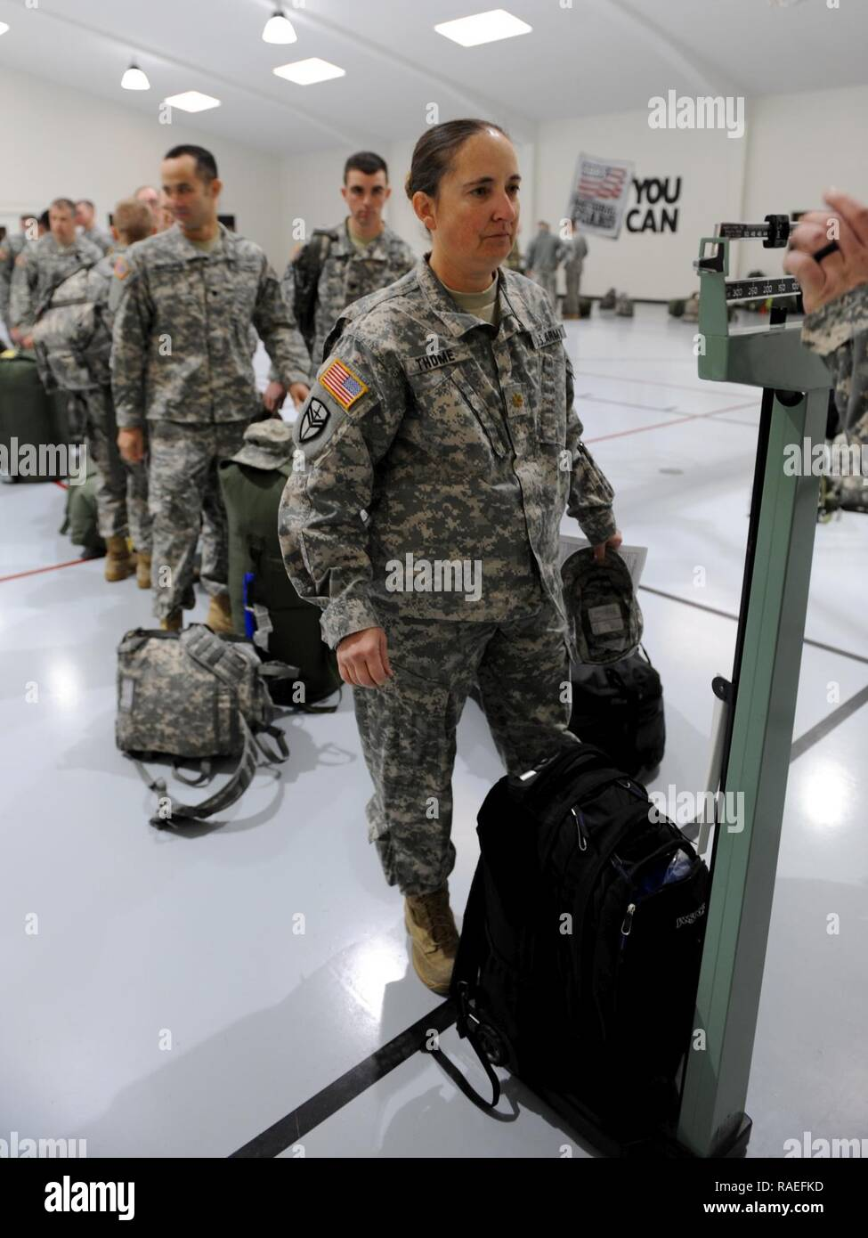 Soldiers With The South Dakota Army National Guard S 235th Military Police Company Weigh Baggage And Equipment Prior To Departing Rapid City S D For Washington D C Jan 18 2017 Where They Will Provide