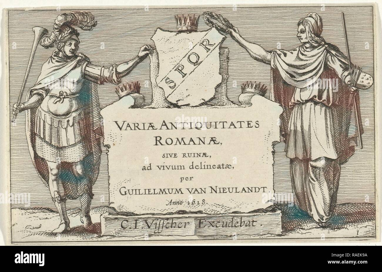 Fame and Arts besides a monumental stone, Anonymous, Claes Jansz. Visscher (II), 161. Reimagined by Gibon. Classic reimagined - Stock Image