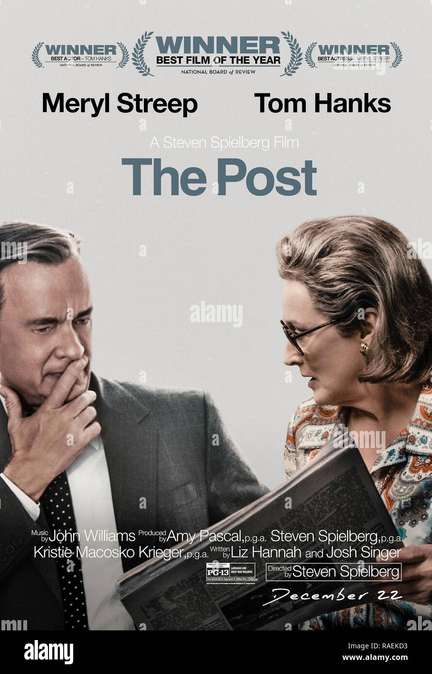 The Post (2017) directed by Steven Spielberg and starring Meryl Streep, Tom Hanks, Sarah Paulson and Matthew Rhys. The true story about Katharine Graham, publisher of The Washington Post, and the newspaper's fight to publish the Pentagon Papers about the US  political and military leaked by Daniel Ellsberg in 1971. - Stock Image