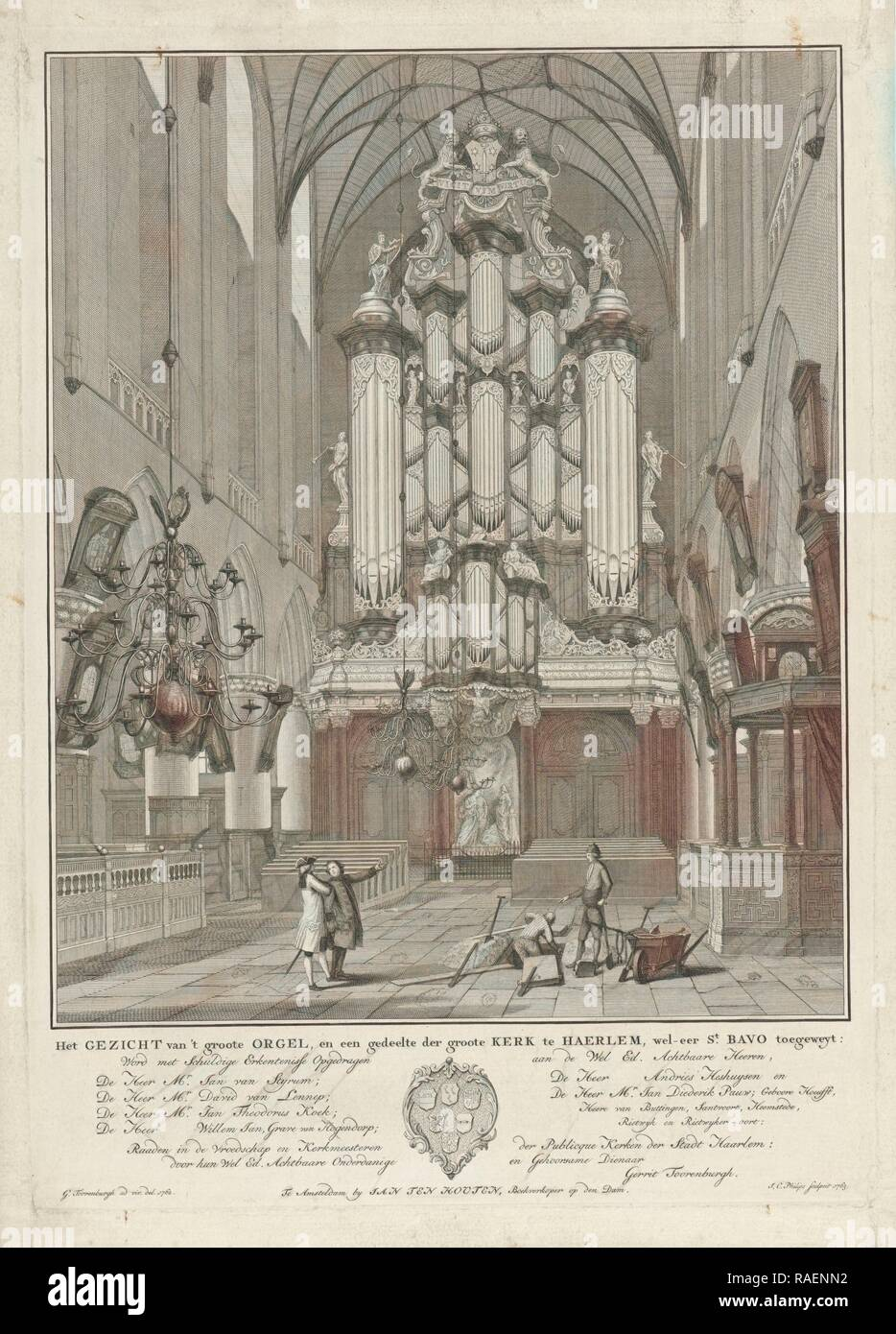 Organ of St. Bavo Church in Haarlem, Jan Caspar Philips, Jan ten Houten, Gerrit Toorenburg. Reimagined Stock Photo