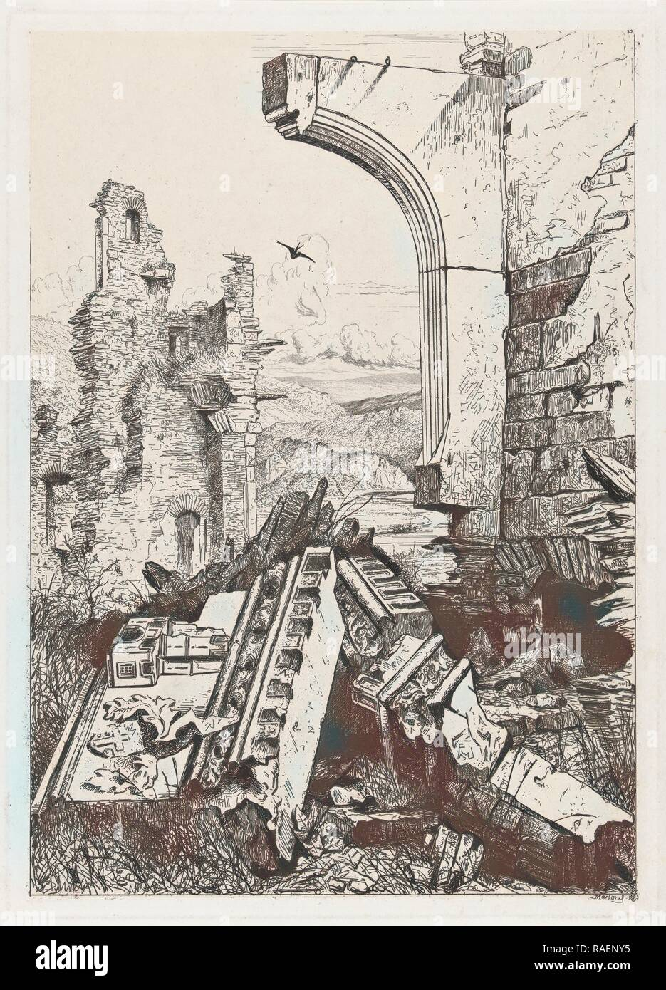 Ruin of castle Bourscheid, north-eastern Luxembourg, Martinus Antonius Kuytenbrouwer (jr.), 185. Reimagined - Stock Image