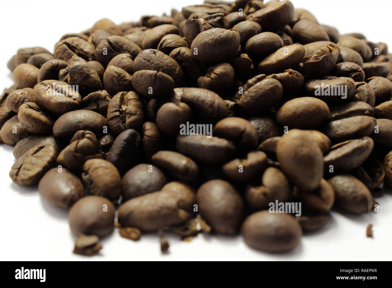 Indonesian roasted coffee beans, your source for a cup of coffee. Fresh! Stock Photo