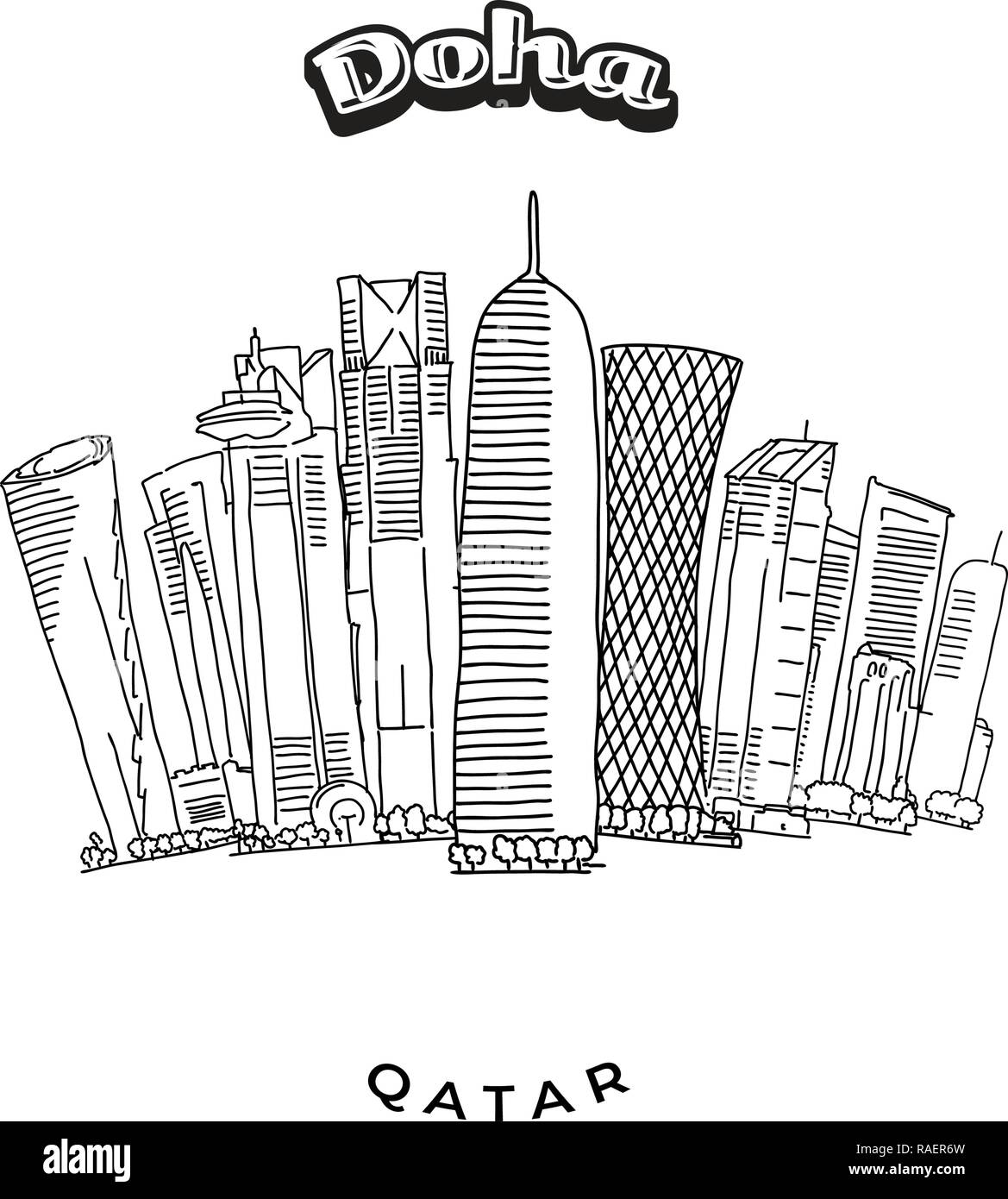 Doha Towers Skyline. Hand-drawn vector illustration. Famous travel destinations series. - Stock Vector