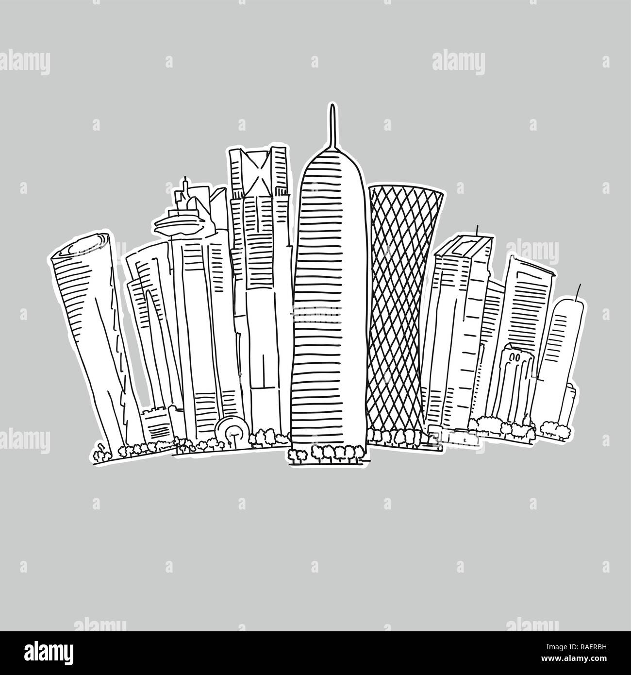Doha Qatar skyline drawing. Hand-drawn vector illustration. Famous travel destinations series. - Stock Vector