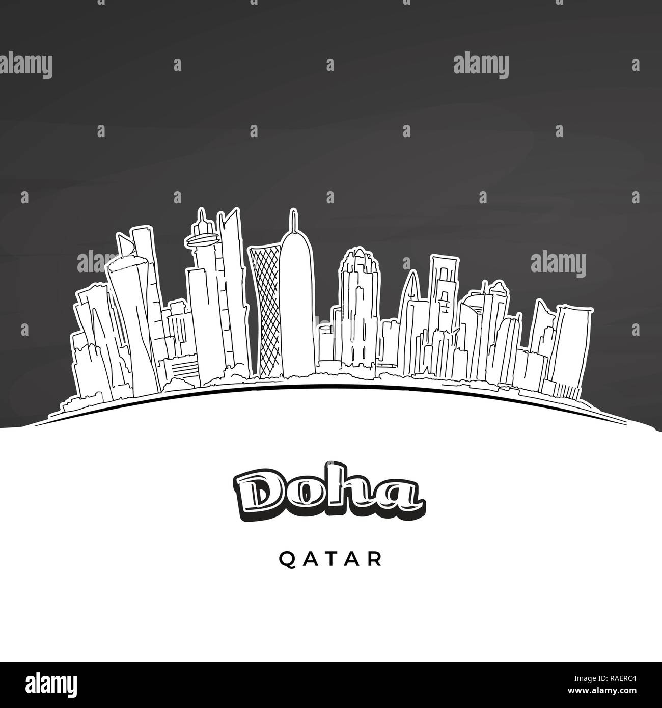 Doha Qatar skyline outline. Hand-drawn vector illustration. Famous travel destinations series. - Stock Vector