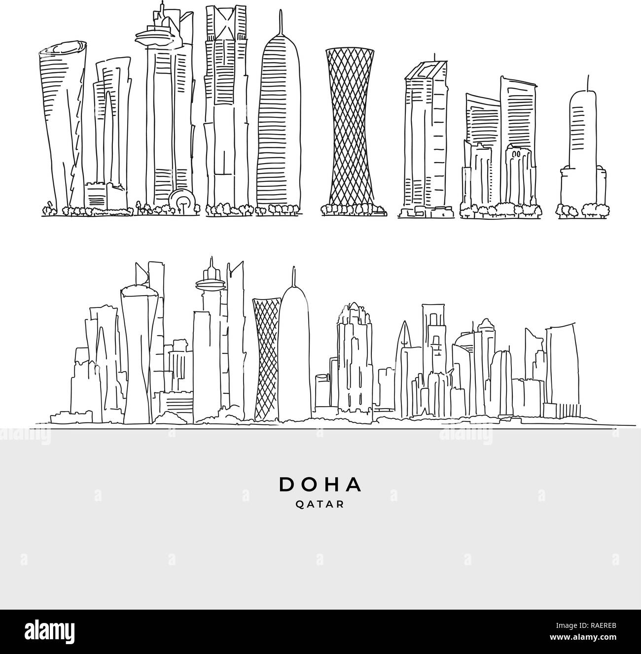 Doha Qatar skyscaper set. Hand-drawn vector illustration. Famous travel destinations series. - Stock Vector