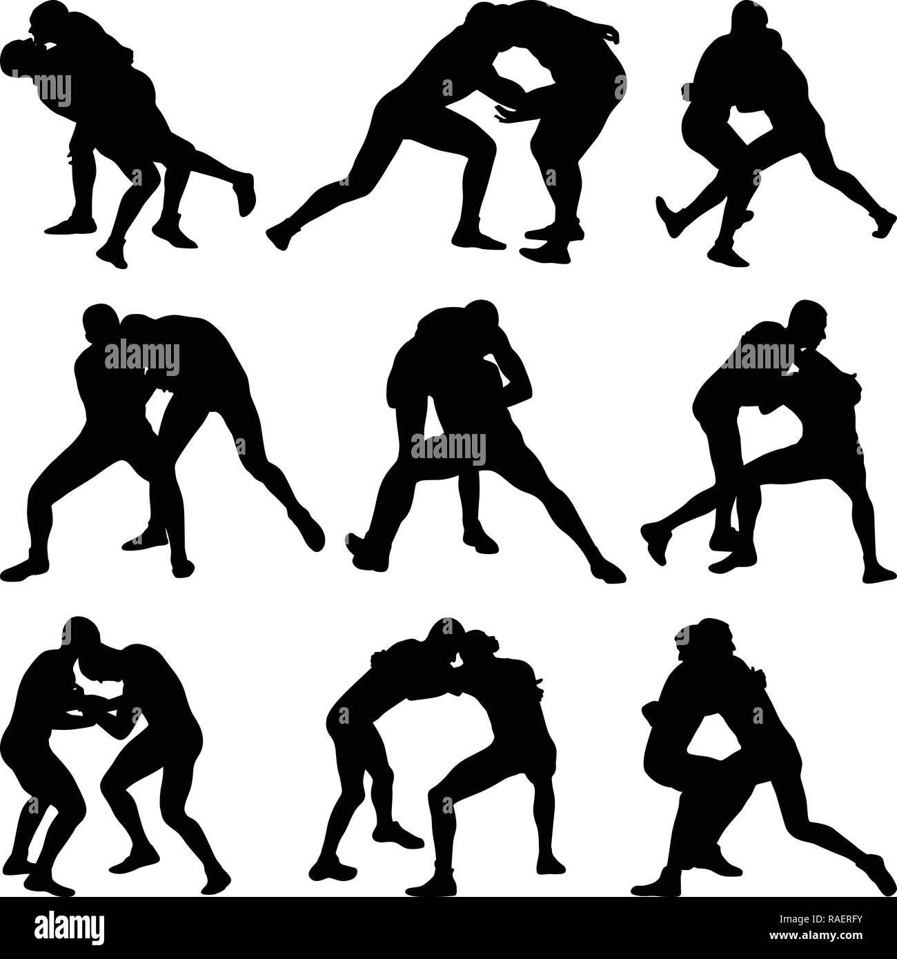 wrestling silhouette vector - Stock Image