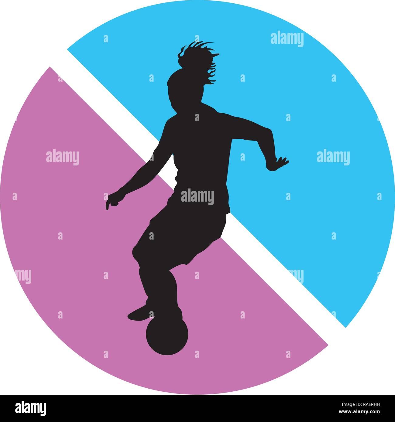 girl soccer player silhouette - Stock Image