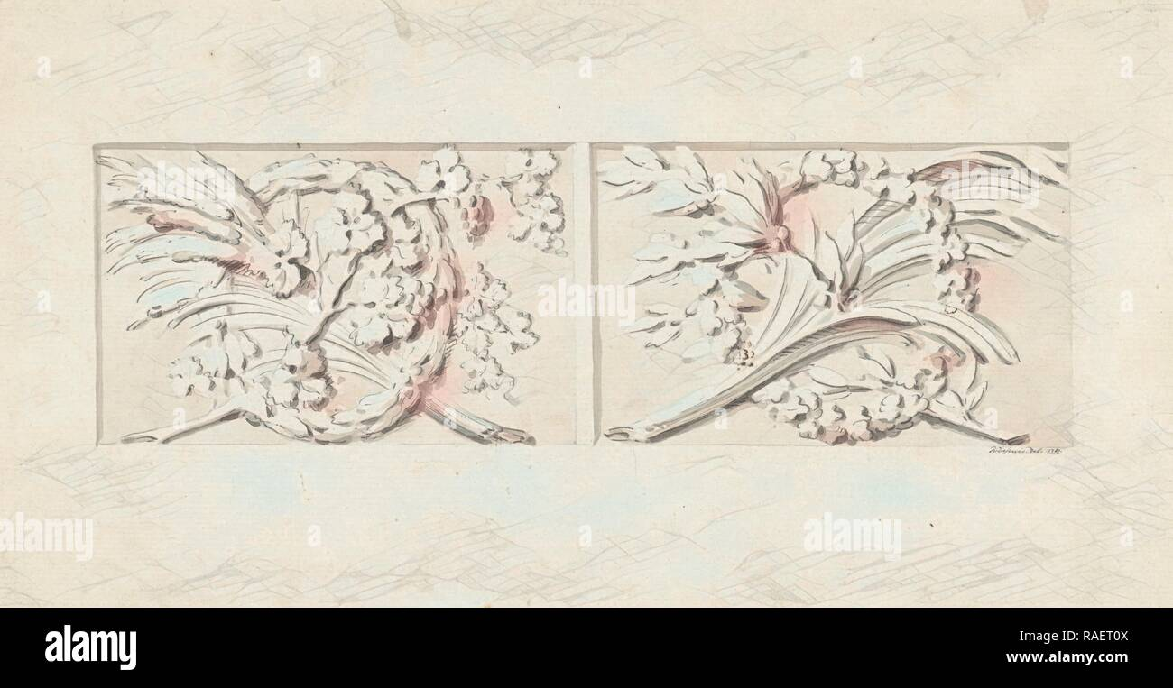 Design for two decorations in rectangular recessed surfaces, Bartholomeus Ziesenis, 178. Reimagined by Gibon. Classic reimagined - Stock Image