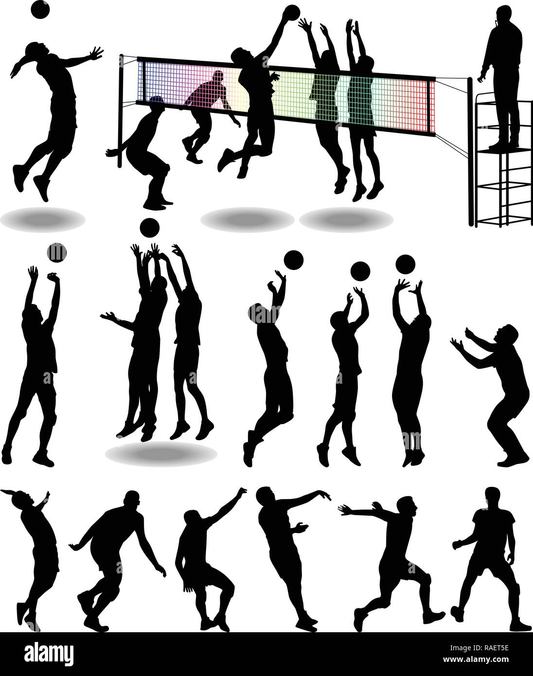 Clipart of volleyball player black silhouette in various