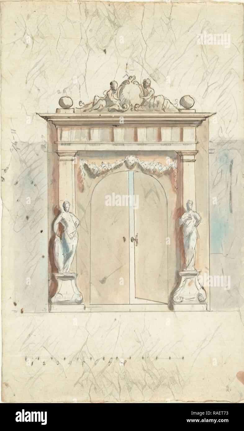 Design for an entrance gate with two images, Elias van Nijmegen, 1677 - 175. Reimagined by Gibon. Classic art with a reimagined - Stock Image