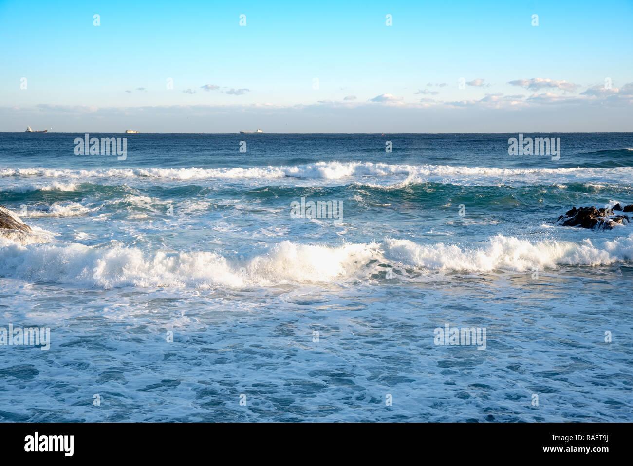 Wild waves and blue sky. Gangwon-do Beach, Republic of Korea. Stock Photo