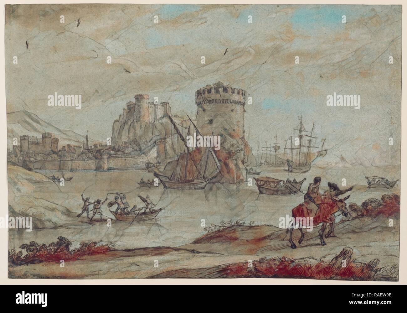 Figures in a Landscape before a Harbor, Claude Lorrain (Claude Gellée) (French, 1604 or 1605 ? - 1682), France, late reimagined - Stock Image