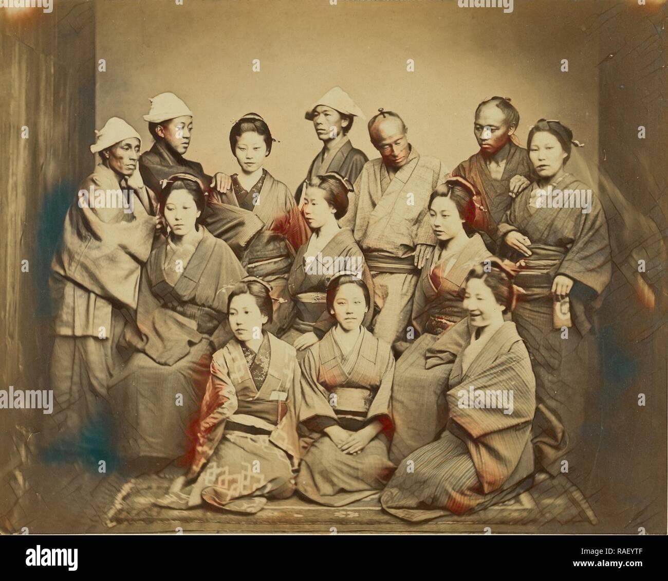 Japanese Family, Felice Beato (English, born Italy, 1832 - 1909), about 1862, Albumen silver print. Reimagined Stock Photo