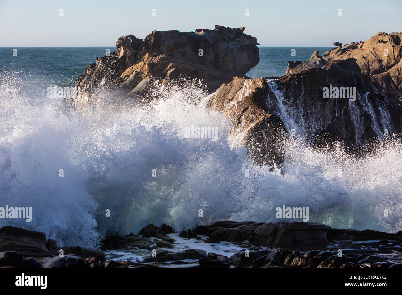 The cold waters of the Pacific Ocean crash against the rocky