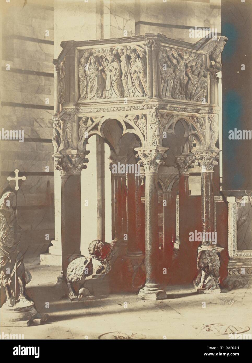 Altar canopy, Fratelli Alinari (Italian, founded 1852), Florence, Italy, 1850s, Albumen silver print. Reimagined - Stock Image