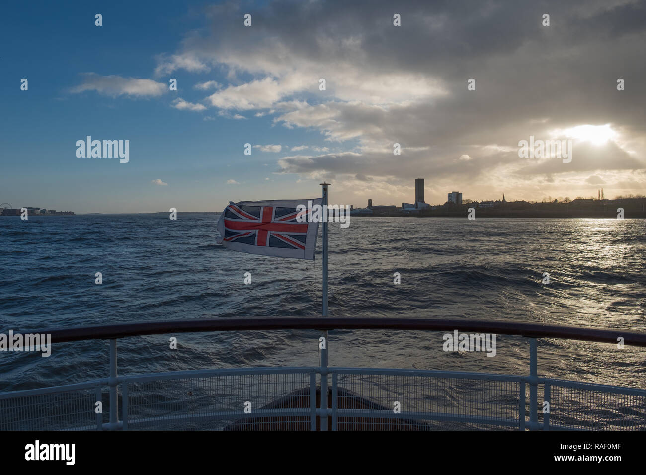 Onboard the Royal Iris of the Mersey ferry, on the River Mersey approaching Seacombe Ferry Terminal, Wallasey - Stock Image