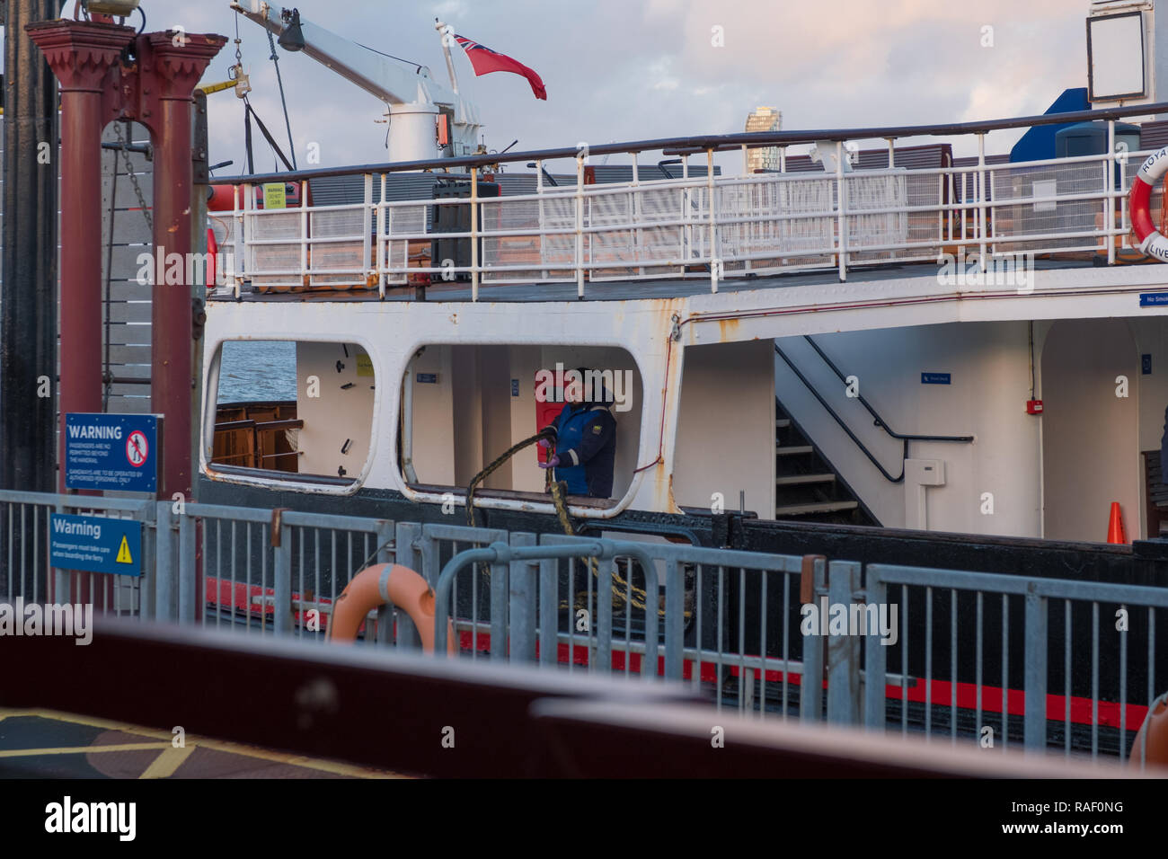 Royal Iris of the Mersey ferry docking at Woodside Ferry Terminal, Birkenhead - Stock Image