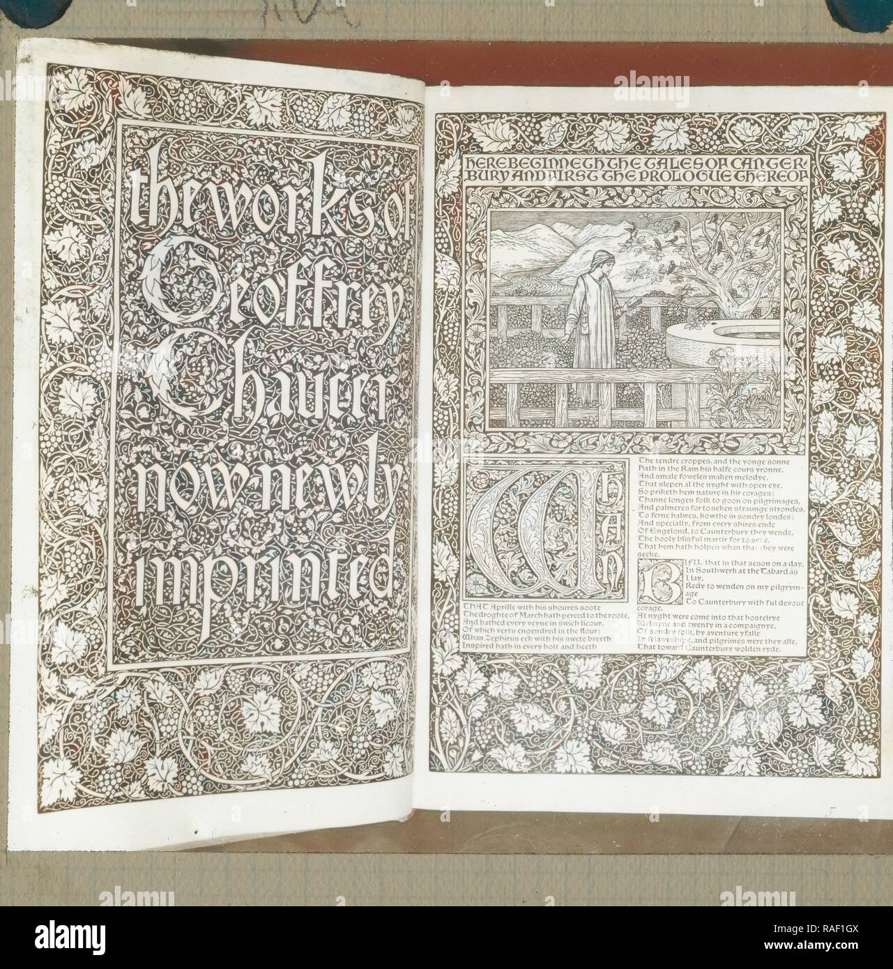 Title page and first page of The Works of Geoffrey Chaucer, Frederick H. Evans (British, 1853 - 1943), 1890 - 1899 reimagined - Stock Image