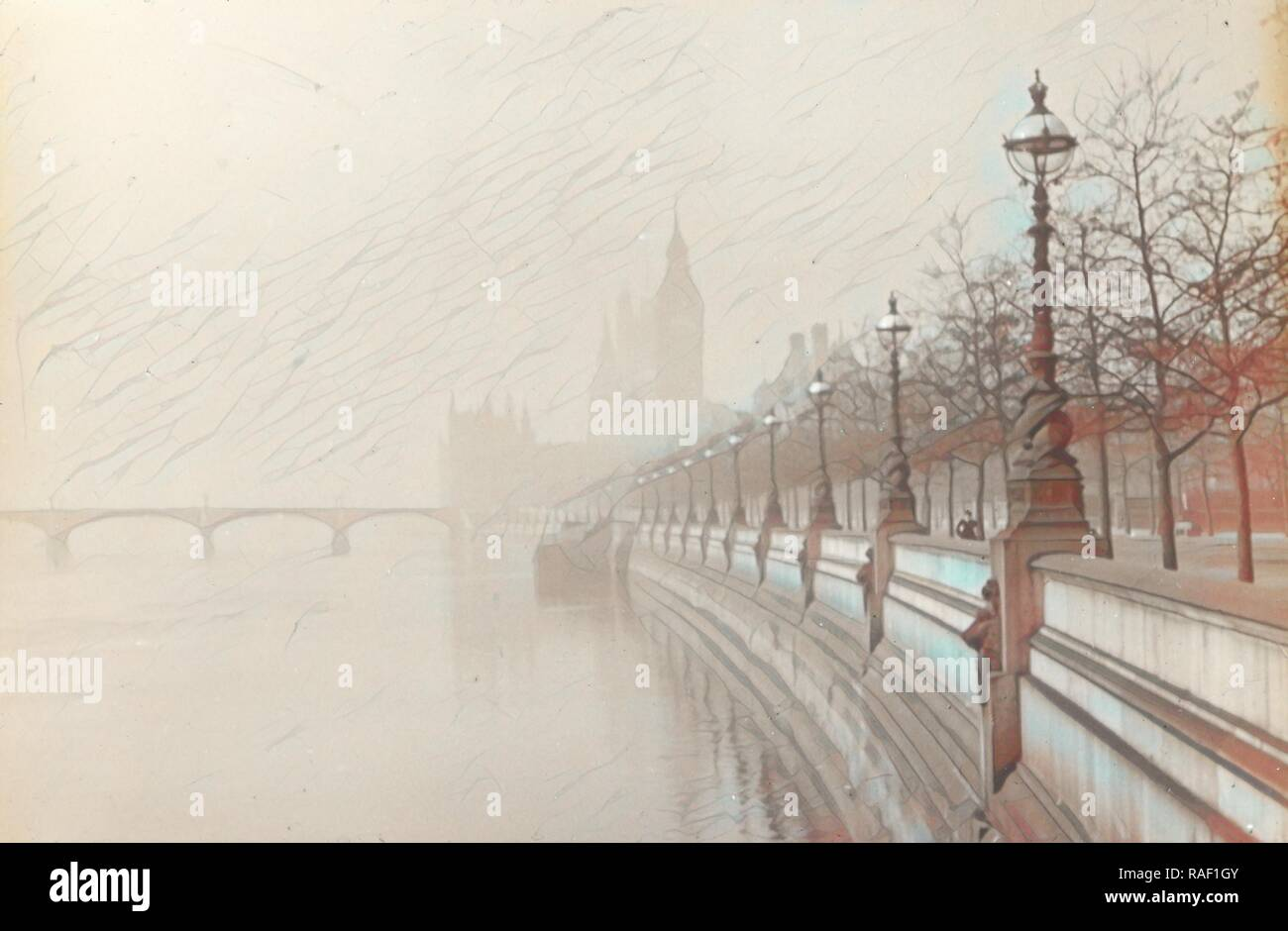 London. Embankment, Frederick H. Evans (British, 1853 - 1943), 1908, Lantern slide, 4.2 x 6.4 cm (1 11,16 x 2 9,16 in reimagined - Stock Image