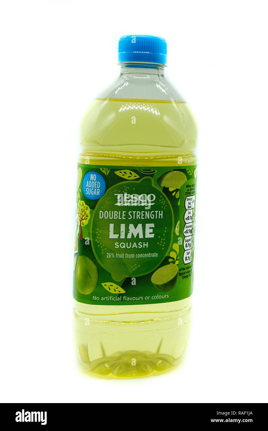 Largs, Scotland, UK - January 02, 2018: A plastic recyclable bottle containing Tesco branded lime squash recyclable in line with current UK initiative - Stock Image