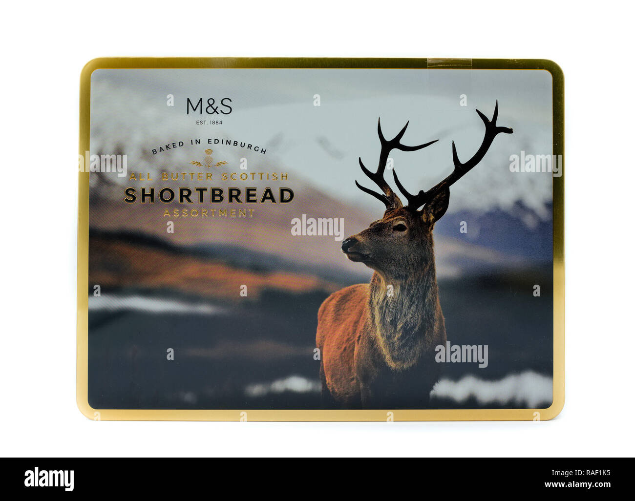 Largs, Scotland, UK - January 02, 2018: M&S branded shortbread biscuits in traditional tin box which is partially recyclable. - Stock Image