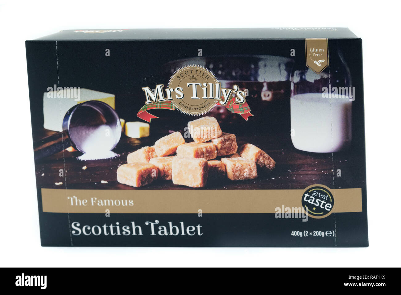 Largs, Scotland, UK - January 02, 2018: Mrs Tilly's branded box of tablet in recyclable packaging in line with current UK guidelines and initiatives. - Stock Image