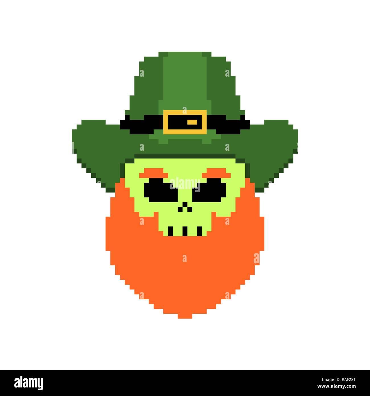 79e1edaee Skull of Leprechaun pixel art. Skeleton head with beard. Holiday of  Ireland. St