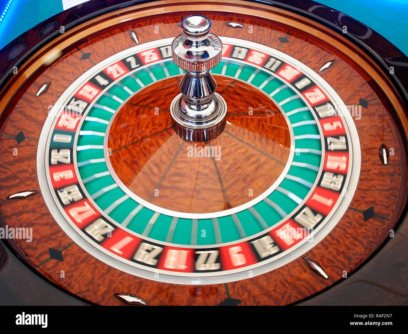 Roulette spinning wheel in action - Stock Image