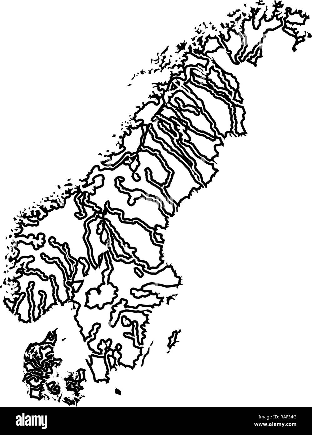 Map of Scandinavia icon black color vector I flat style simple image - Stock Image