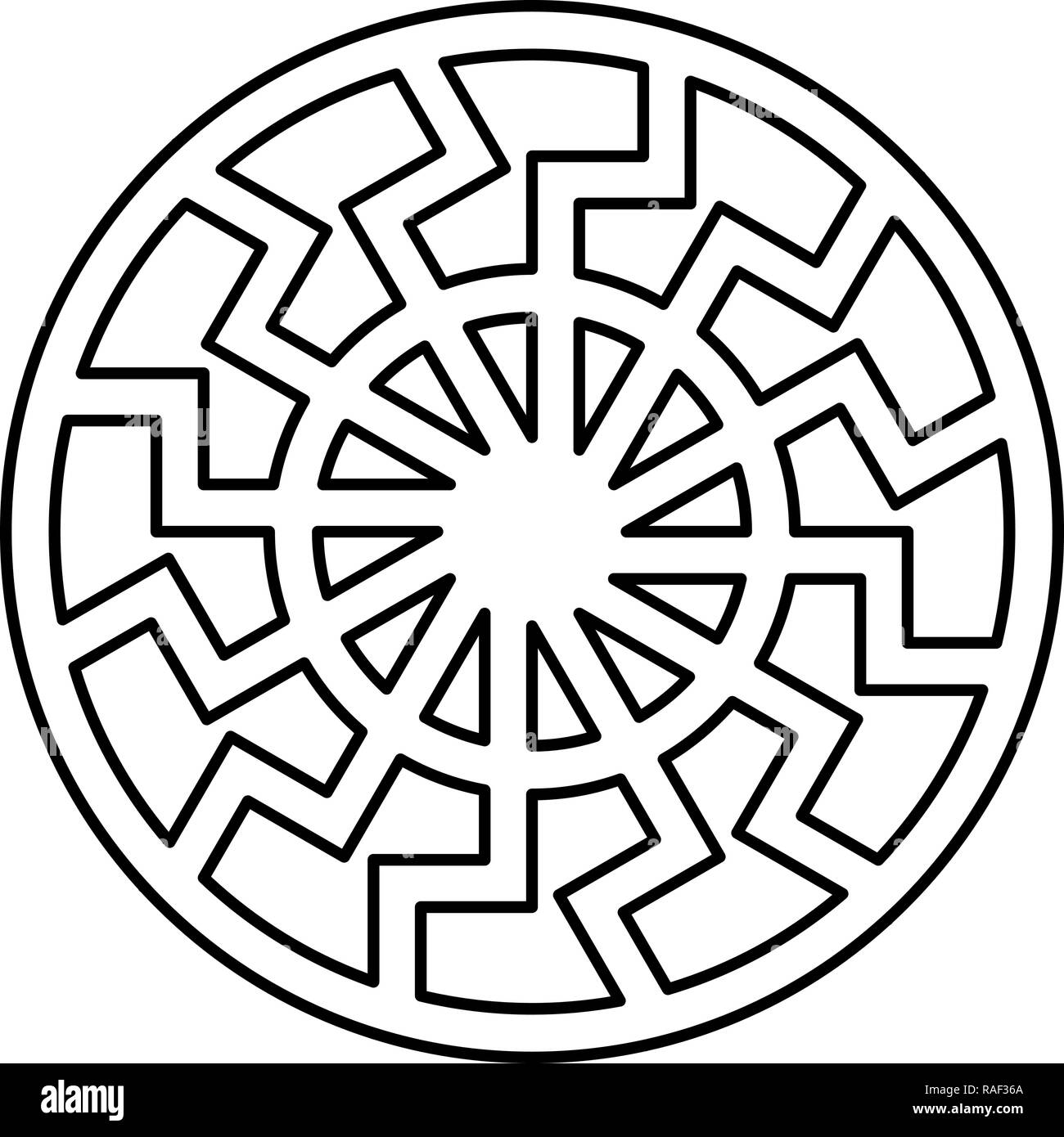 Black sun symbol icon black color vector I flat style simple image - Stock Image