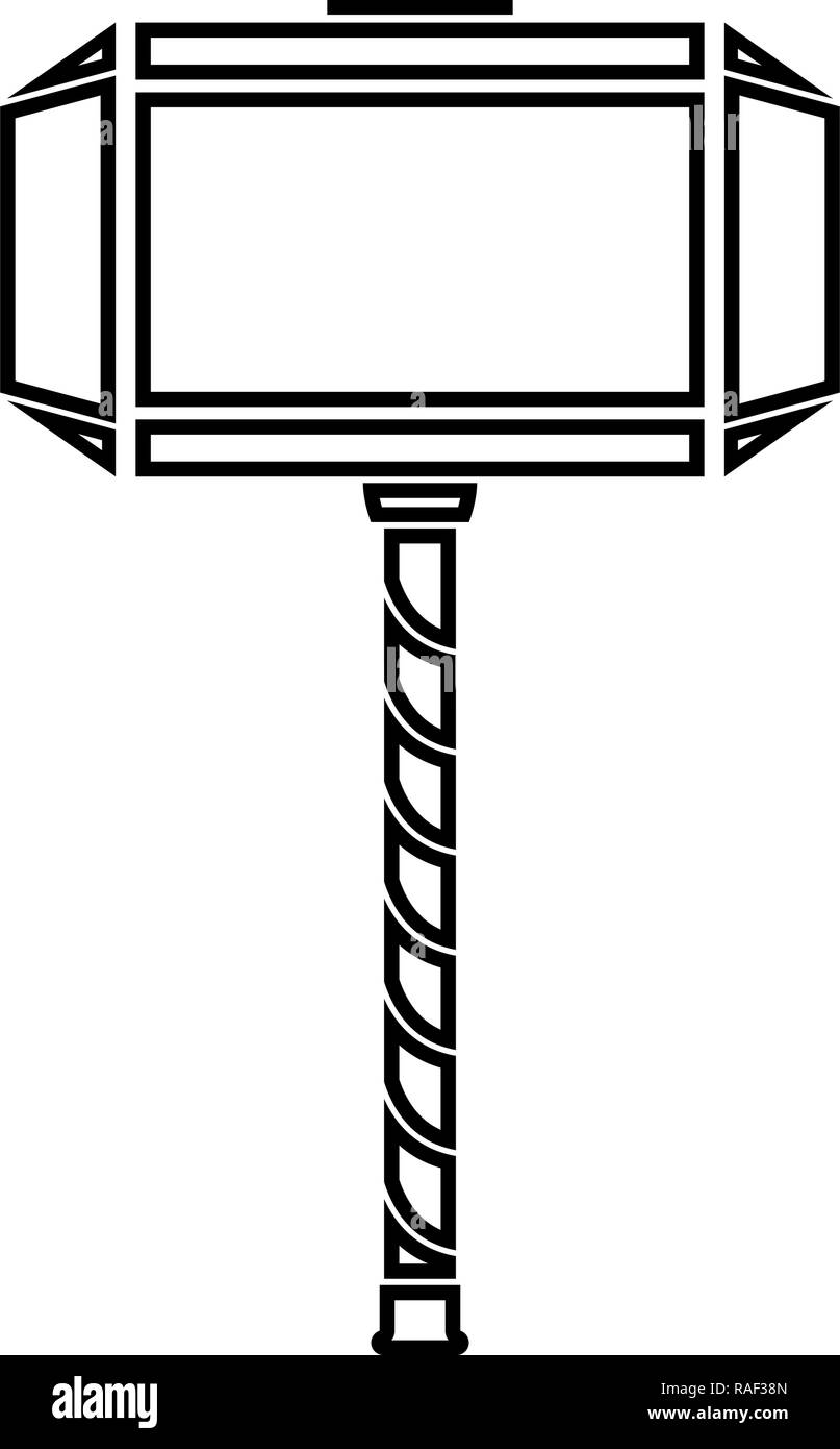 Thor's hammer Mjolnir icon black color vector illustration flat style simple image - Stock Image
