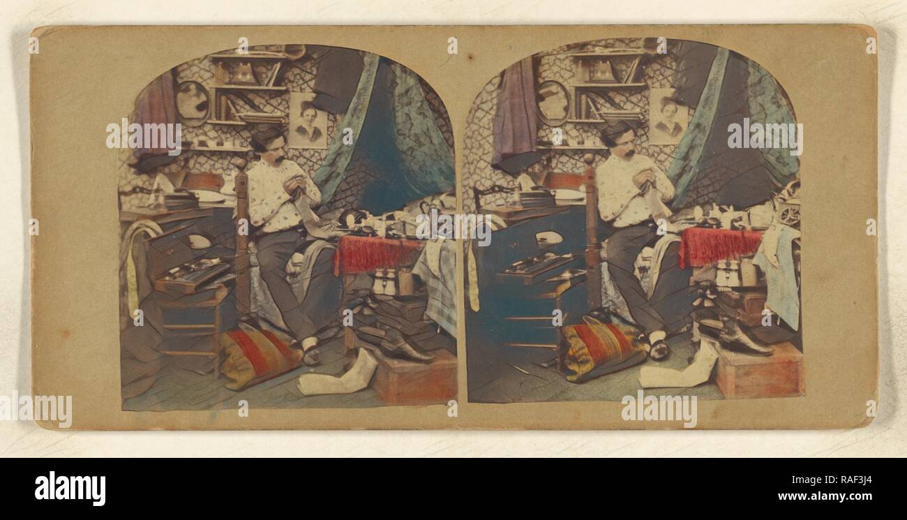 Bachelor Life, Attributed to J. Eastlake (British, active 1850s - 1860s), about 1860, Hand-colored Albumen silver reimagined - Stock Image