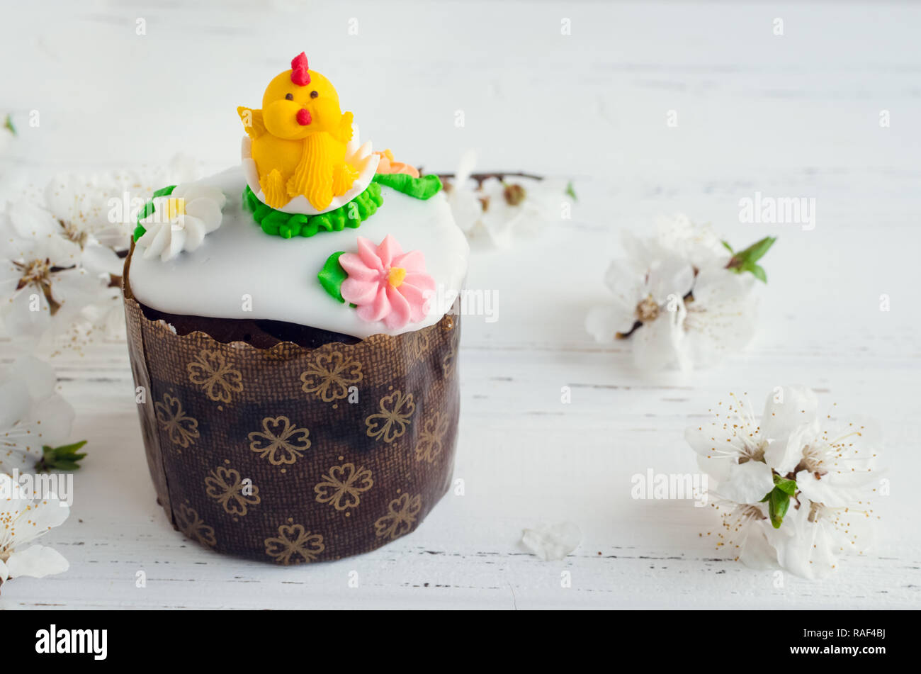 Traditional Ukrainian Easter Cake Paska Decorated For Children And