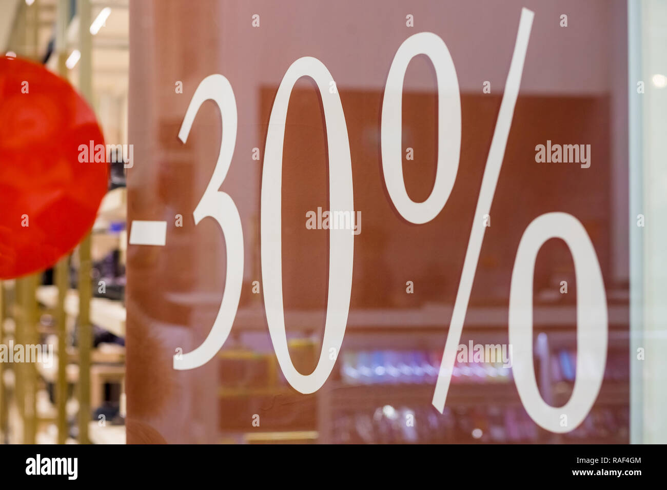 2cdcda3ac6 Shopping Mall promotion 50 percent sales shop window.Discount concept .  winter