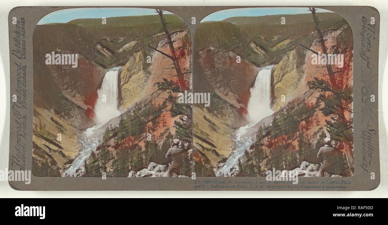 From Pt. Lookout, 1,200 ft. above rive, up canon to Lower Falls (308 ft.) Yellowstone Park, U.S.A, Underwood reimagined - Stock Image