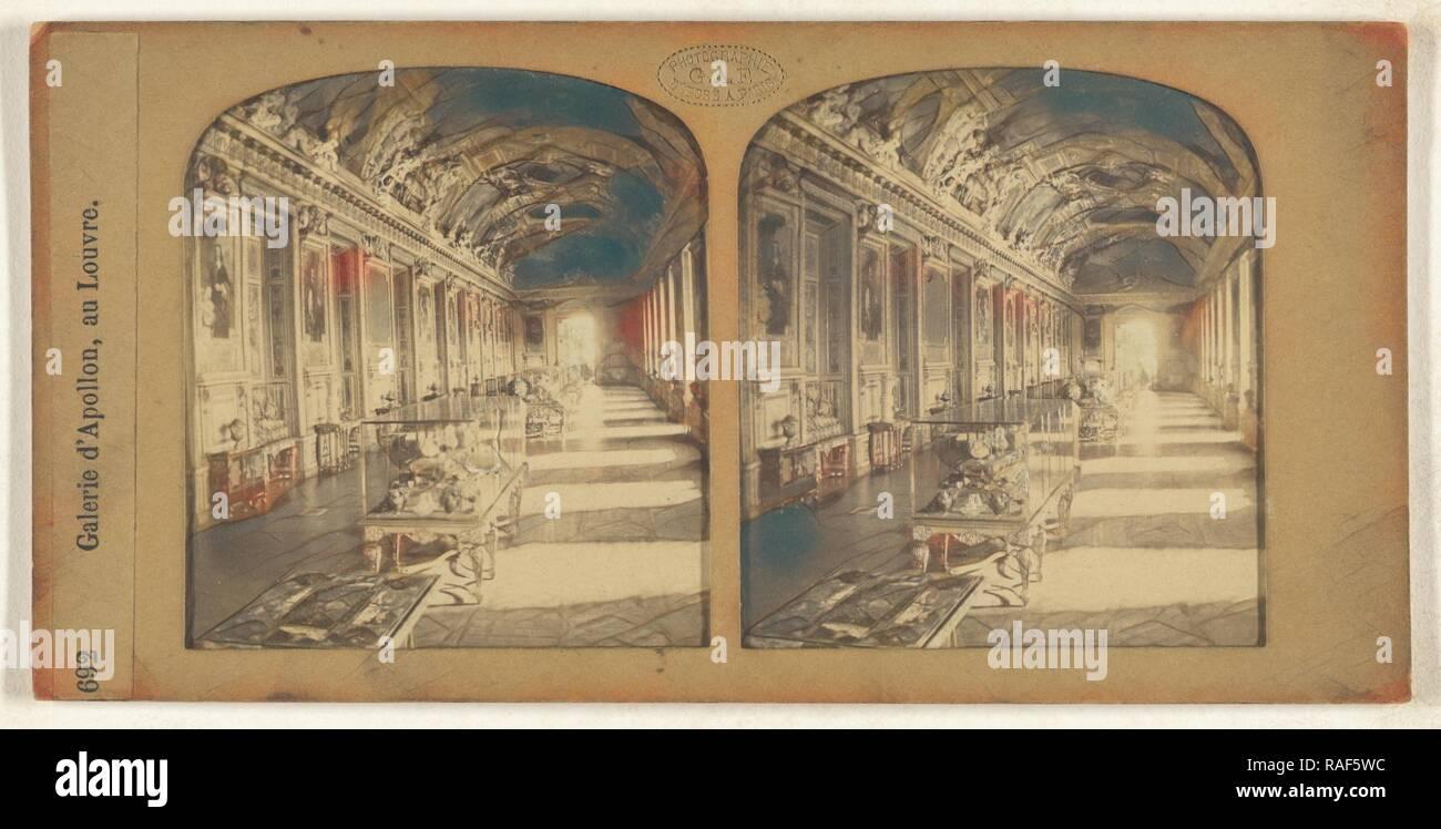 Galerie d'Apollon, au Louvre, F. Grau, G.A.F. (French, active 1850s - 1860s), 1855 - 1865, Hand-colored Albumen reimagined - Stock Image