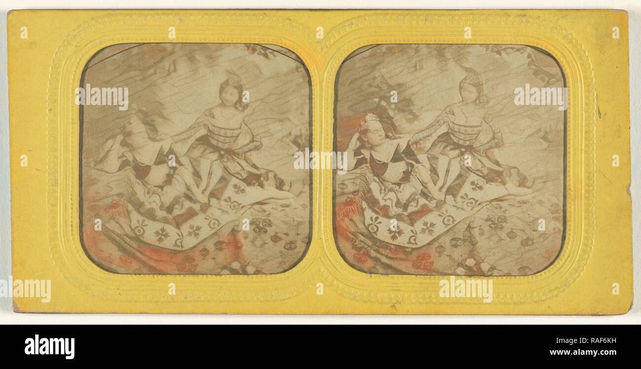 Genre scene: a queen with her maidservant, 1855 - 1860, Hand-colored Albumen silver print. Reimagined - Stock Image