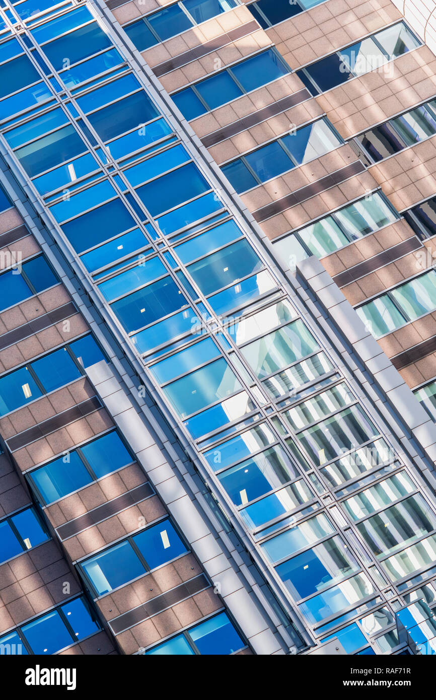 Abstract office architecture, London Wall, Moorgate. London, England - Stock Image