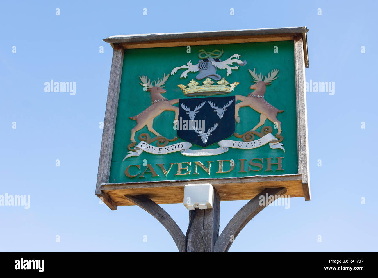 Village sign, The Green, Cavendish, Suffolk, England, United Kingdom - Stock Image