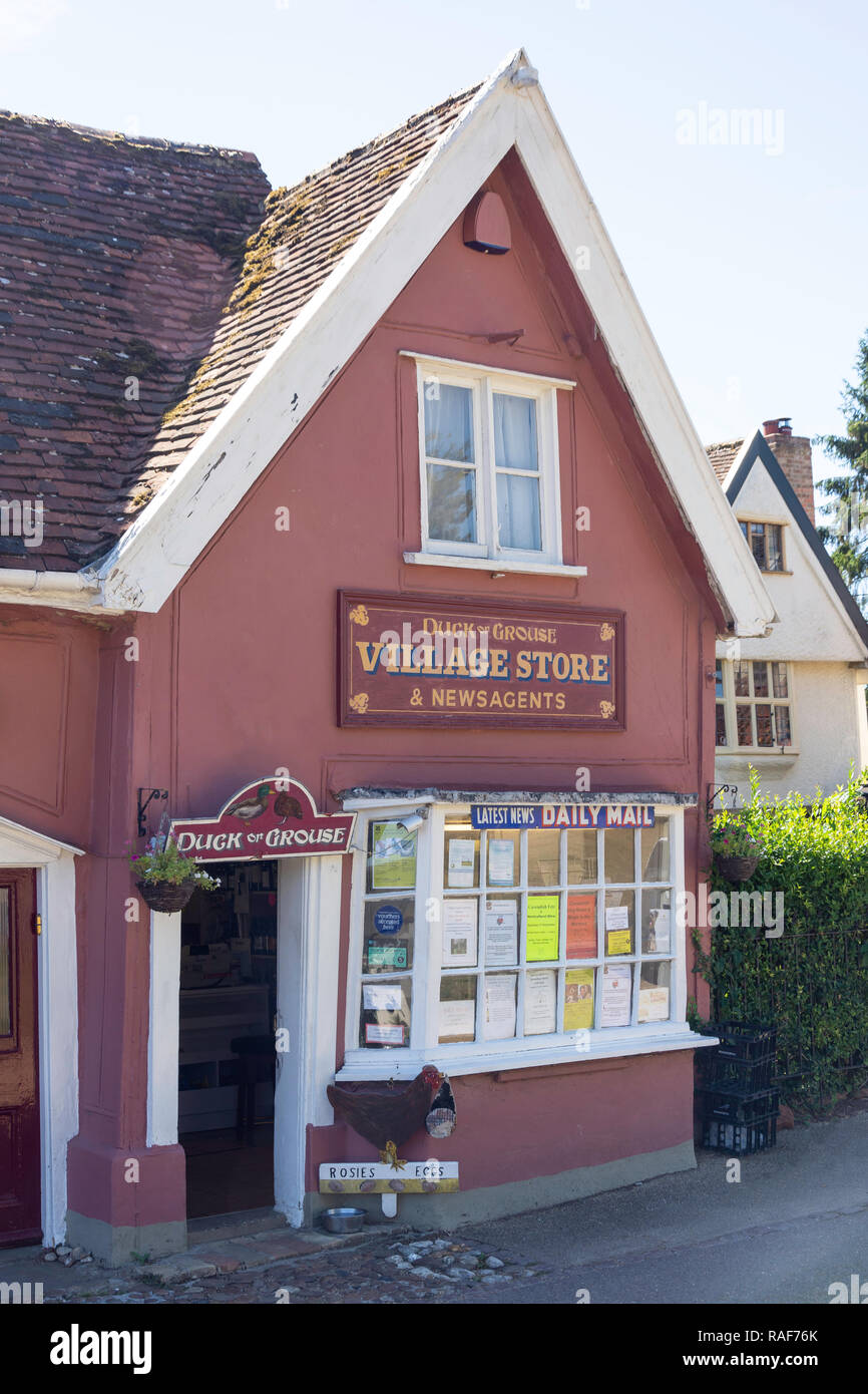 Duck or Grouse Village Store & Newsagent, The Green, Cavendish, Suffolk, England, United Kingdom - Stock Image