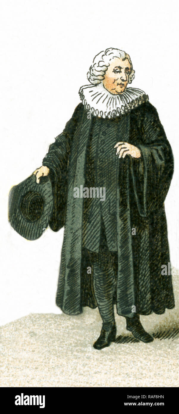 The figure pictured here is a German Protestant clergyman in 1700. This illustration dates to 1882. - Stock Image