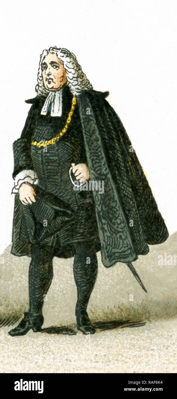 The figure pictured here is a German Magistrate in 1700. This illustration dates to 1882. - Stock Image