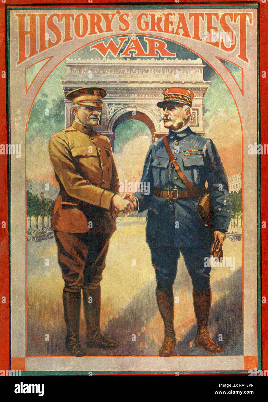 The title refers to World War I. The figures are the British commander General Douglas Haig and the French commander General Ferdinand Foch. Haig commanded the British Expeditionary Force on the Western front from 1915 to the end of the war. Foch served as the Supreme Allied Commander during the war. Behind them in this illustration is the Arc de Triomphe in Paris. - Stock Image